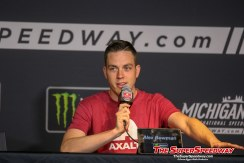 Alex Bowman speaks to the media at Michigan International Speedway Friday.
